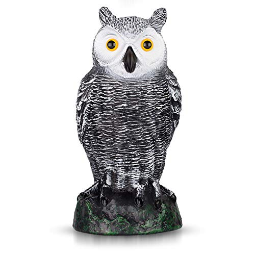 "briteNway Ultimate Scarecrow Owl Decoy Statue Realistic Fake Owl Outdoor Pest & Bird Deterrent, Hand-Painted Garden Protector, Scares Away Squirrels, Pigeons, Rabbits & More – 10,5"" Hollow Design"