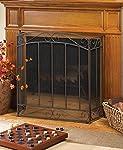 Rustic Fireplace Screens Bronze Spark Guard Three Panel Decorative Iron Mesh Flat Antique Screen by DecorDuke