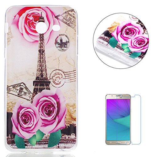 KaseHom Samasung Galaxy J520/J5 2017 Silicone Case, Samasung Galaxy J520/J5 2017 Soft Slim TPU Cover Stylish Painted Design Anti-Scrach Jelly Gel Protection Bumper Shell - Rose Pair Tower
