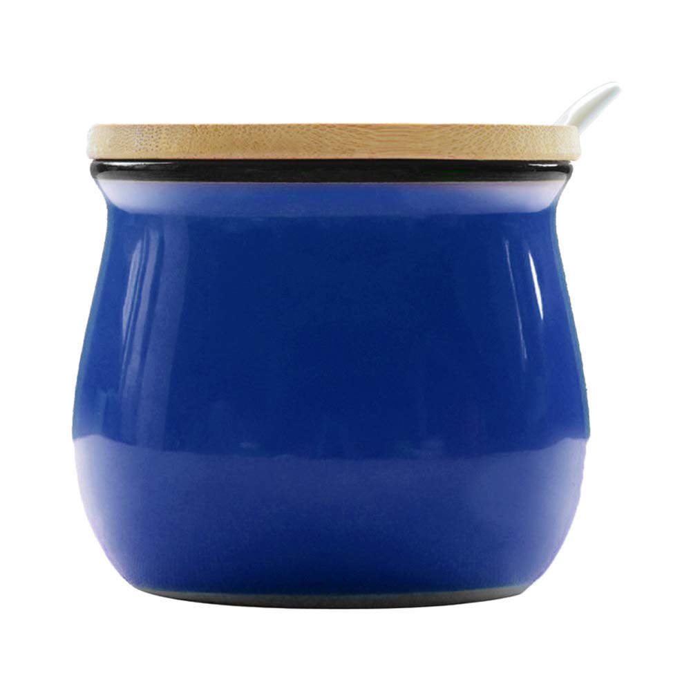 Ceramics Modern Colorful Sugar Bowl Spice Jar with Wood Lid and Spoon Seasoning Box Condiment Pots Blue