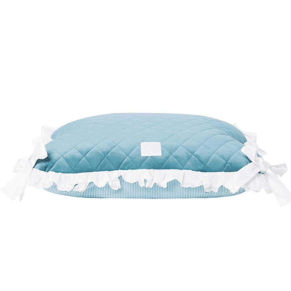 bluee Autumn And Winter New Pet Kennel Pad Teddy Bear Small Dog Mat Removable And Washable Nonslip Warm Sleeping Mat WHLONG (color   bluee)