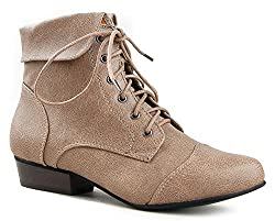 Breckelle's Indy-11 Women`S Fold Over Lace Up Oxford Boots, Beige, 6 B(M) US