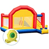 Costzon Kid Bounce House, Inflatable Slide Bouncer Outside Castle Bounce Jumper with 950W