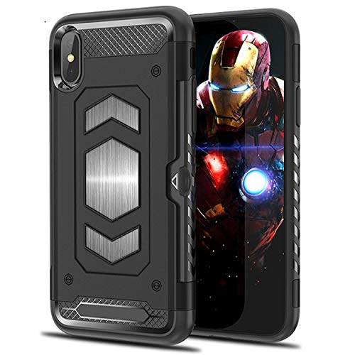 iPhone Xs Max Case with Card Holder, Magnetic car Back Full Body Armor Apple 6.5 Inches iPhone: - Black