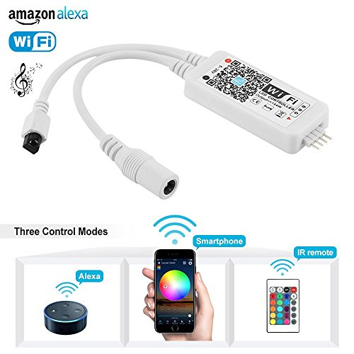 Nexlux WiFi Wireless LED Smart Controller Working with Android and IOS System Mobile Phone Free App for GRB LED Light Strips 5050 3528 LEDs Comes With One 24 Keys Remote Control