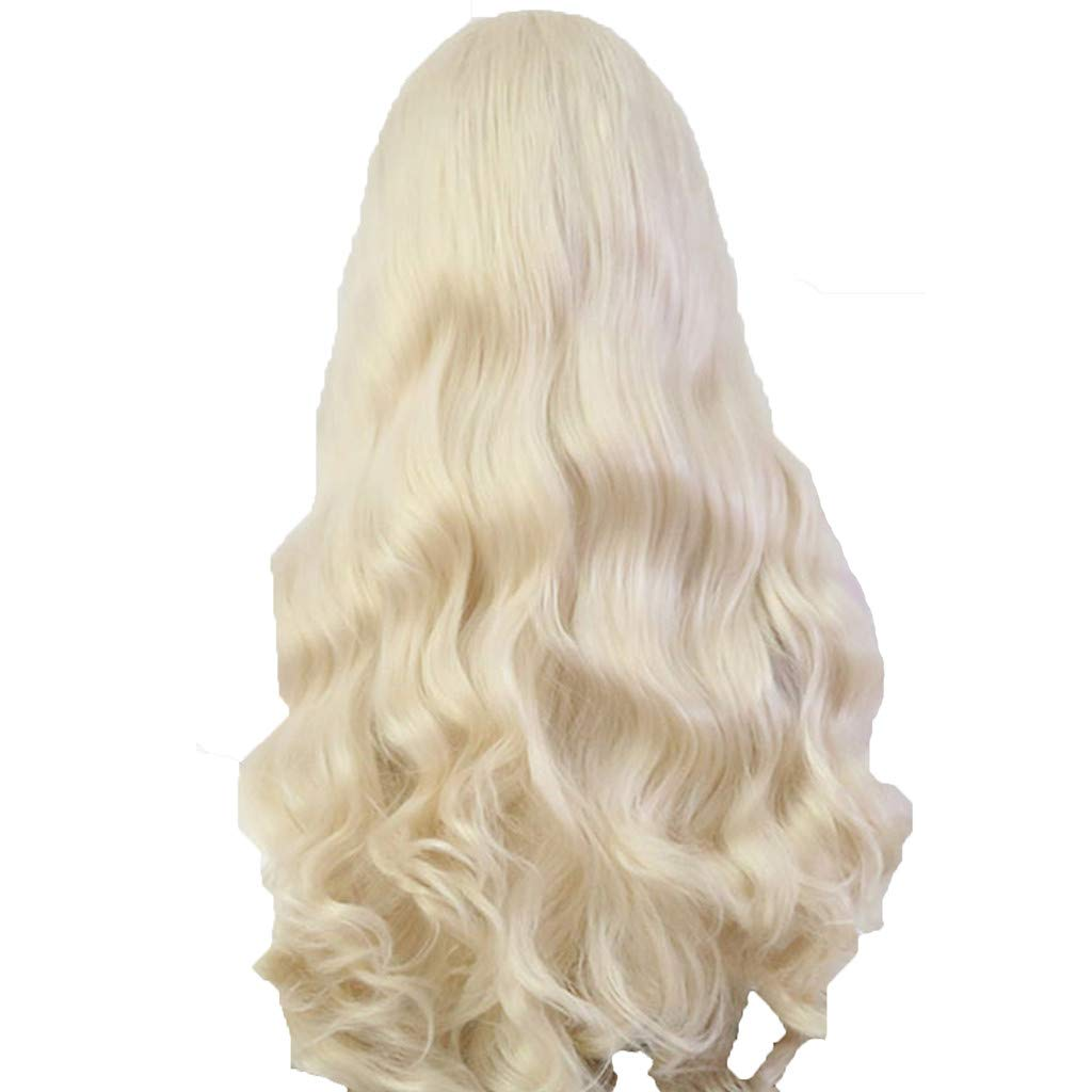 DDLmax Women's Fashion Front Lace Wig Gold Synthetic Hair Long Wigs Wave Curly Wig by DDLmax