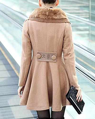 Cappotto Oudan E Caldo Small Da Line Con Giacca Cammello A colore Dress Capispalla Donna Dimensione Risvolto Winter nrwpqR0YrX