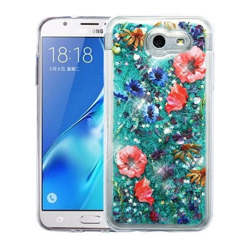 new product 06850 4b979 Samsung Galaxy J3 Eclipse Case - Liquid Glitter Hybrid TPU Gel Bumper Cover  Case - Watercolor Flowers and Atom LED for Samsung Galaxy J3 Eclipse