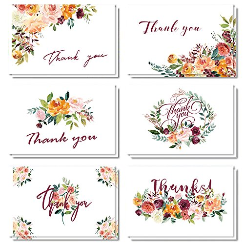 Thank You Cards, 24 Count Watercolor Floral Thank You Note Card, 6 Chic Yellow Flower Design for Bridal Shower, Baby Shower, Wedding, Blank Inside, Greeting cards with Envelopes and Stickers, 4×6 Inc