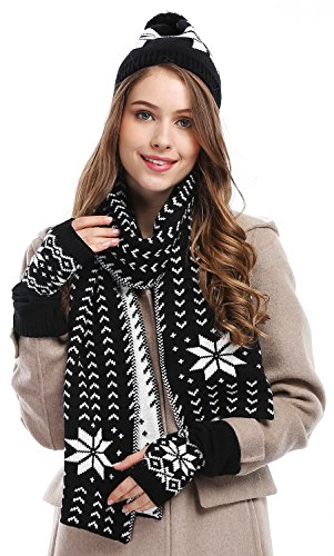 Beanie Gloves Hat Cap (Bienvenu Women's Snowflake Hat Gloves and Scarf Winter Set,Black)