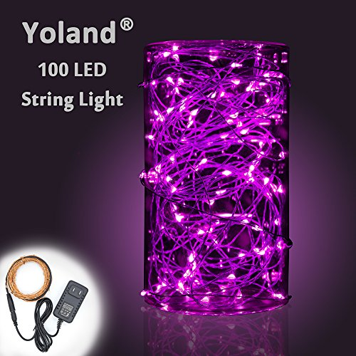 12 Lights Volt Christmas (Yoland LED Copper Wire Lights, 33Ft 100LEDs with 12V AC/DC Power Adapter String Light, Fairy Starry Light for Christmas, Holidays, Garden, Party, Patio Decor, Purple)