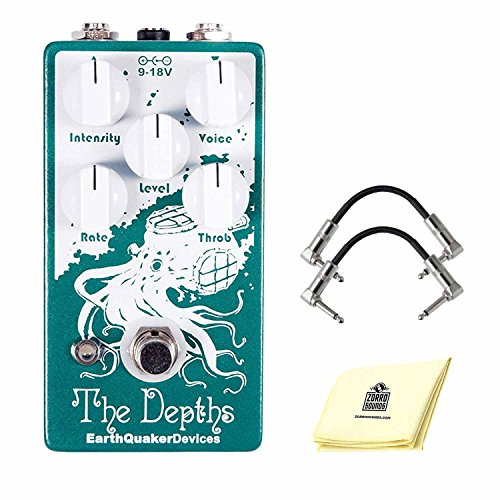 EarthQuaker Devices The Depths Optical Vibe Effects Pedal with Intensity, Voice, Level, Rate & Throb Controls Guitar Effect Pedal Bundle (Included) 2 Patch Cable & Zorro Sounds Guitar Polish Cloth (Pedal Volume Optical)