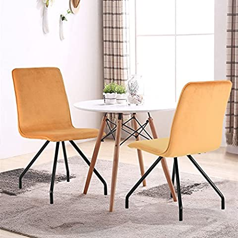 GreenForest Dining Chairs Velvet Cusion Wood Transfer Metal Legs Dining Room Chairs Set of 2, (Yellow Room Chairs)