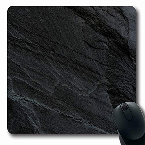 (Ahawoso Mousepads for Computers Pattern Gray Stone Dark Grey Black Slate Hard Material Rock Lava Granite Rough Design Chalkboard Oblong Shape 7.9 x 9.5 Inches Non-Slip Oblong Gaming Mouse Pad)