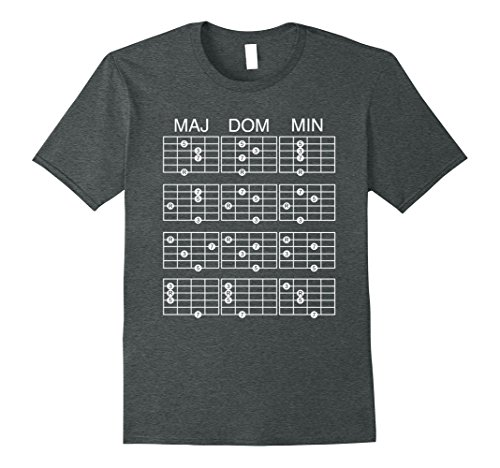 Mens 7th Chord Inversions Guitar Theory Guide T-Shirt Large Dark Heather