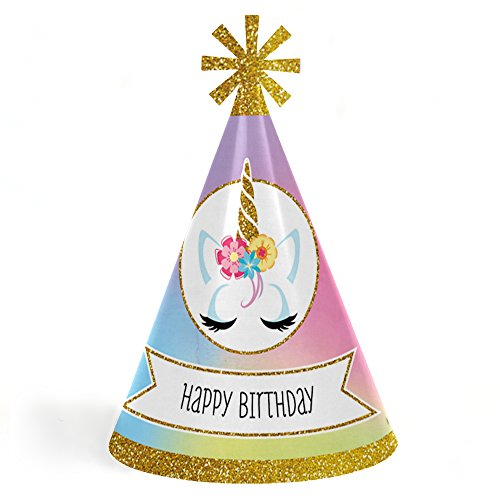 Rainbow Unicorn - Cone Magical Unicorn Happy Birthday Party Hats for Kids and Adults - Set of 8 (Standard Size)