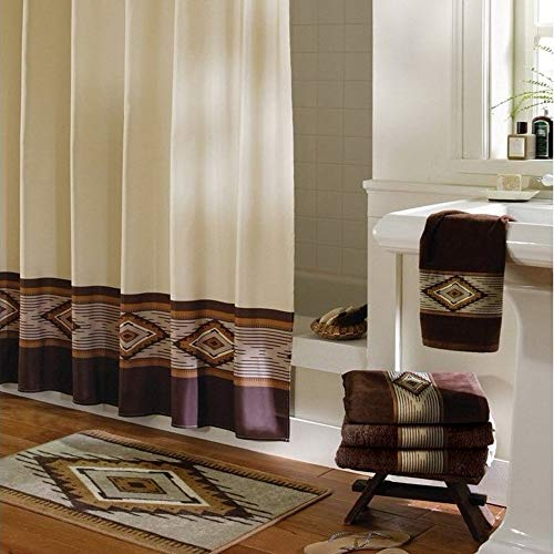 DS BATH Aubrey Brown Decorative Polyester Shower Curtain,Fabric Shower Curtains for Bathroom,Contemporary Bathroom Curtains,Print Waterproof Bath Curtain,72
