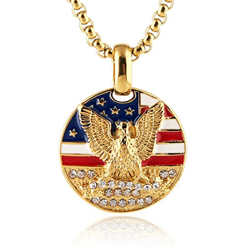 HZMAN Men's 18k Gold Plated Stainless Steel 3D Eagle American Flag Dog Tag CZ Pendant Necklace (Coin Medal)