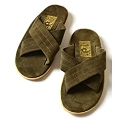 Suede Cross Strap Sandals 115-33-0095: Olive