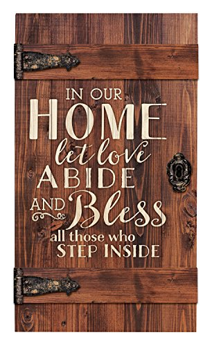 In Our Home Let Love Abide Distressed 18 x 32 Inch Solid Pine Wood Barn Door Wall Plaque Sign