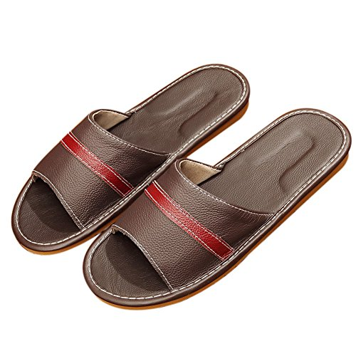 TELLW dark Brown men Female Slippers Floor Leather Anti Home Slippers Summer Indoor Wooden Male Sliding Couple 1rwxg16