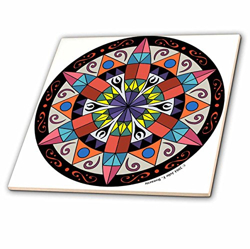 Signs Hex Dutch Pennsylvania - 3dRose Art of Jolie E Bonnette Misc Designs - Hex Sign 1 Pennsylvania Dutch Luck Protection Symbol - 12 Inch Ceramic Tile (ct_23186_4)
