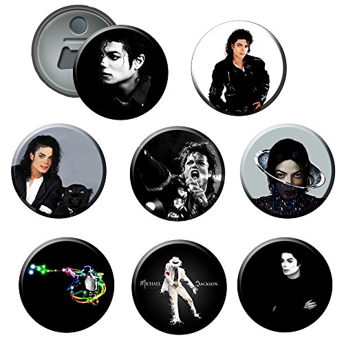 Michael Jackson #3 : Button Bottle / Beer Opener / Fridge Magnet 2.25 Inch (Set of ()