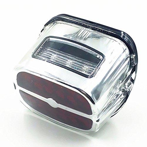 Chrome Frein LED Feu arri/ère lampe de plaque dimmatriculation pour Harley Fatboy Softail Flht XL Flhtc Flhtcu Flhtk Moto