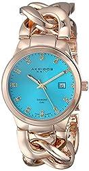 Akribos XXIV Women's AK759YGTQ Lady Diamond-Accented Gold-Tone Watch
