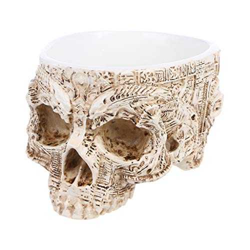 keaiduoa Hand Carved Skull Flower Pot Human Skull Bone Bowl Home Garden Decor Halloween