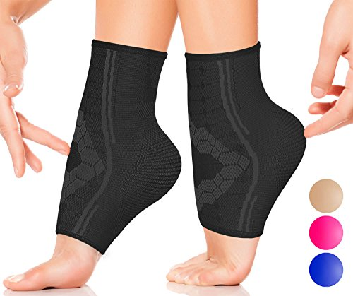 Ankle Compression Socks by SPARTHOS (Pair) – Plantar Fasciitis Ankle Brace with Arch Support – Foot Sleeves for Men and Women – Injury Recovery – Pain Relief for Sprains, Strains, Arthritis (Black-S)