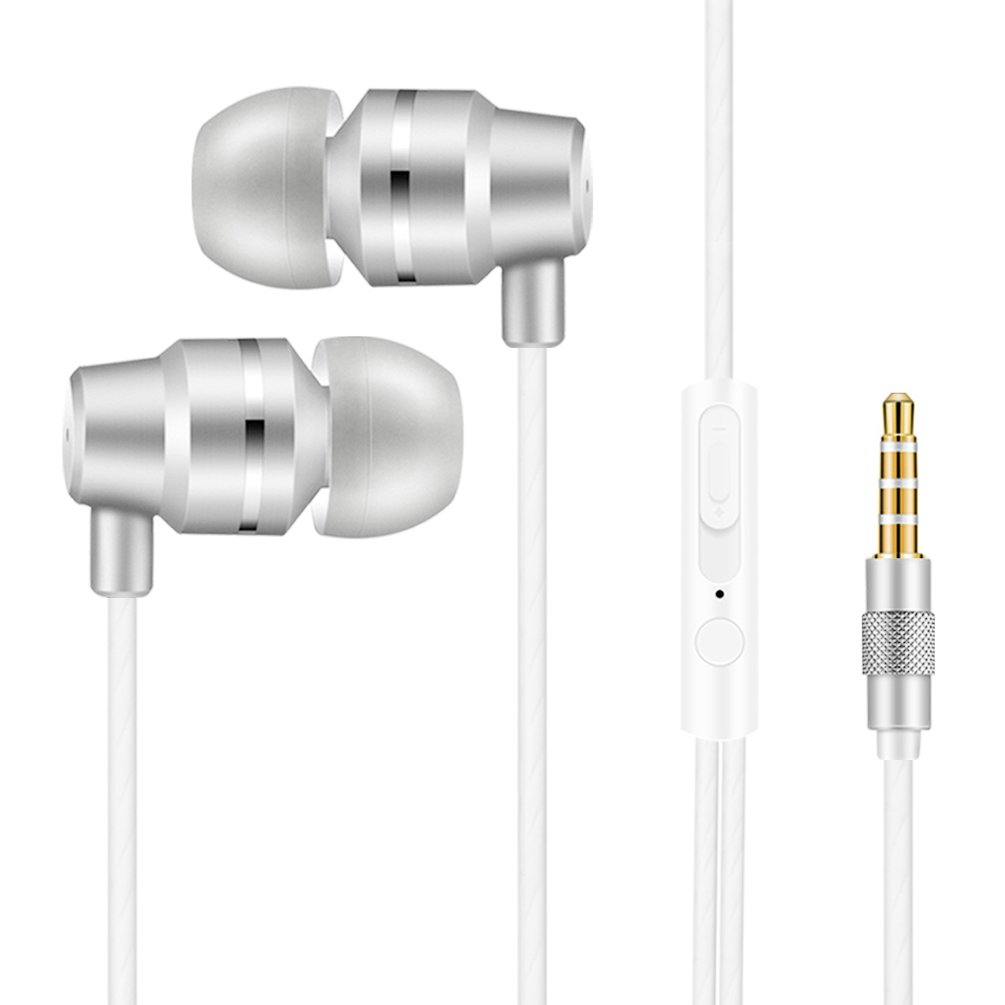 MINZEN Wired Earphones In ear Headphones Bass Earbuds Headsets With Microphone & Volume Control & Remote For Running Gym Exercise Sweatproof, iPhone, iPad iPod Android Smartphone Mp3 Player (Silvery)