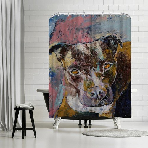 """""""Brindle Pit Bull Shower Curtain by Michael Creese 74"""" H x 71"""" W x 0.1"""" D"""