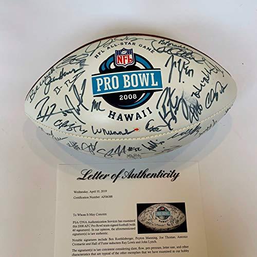 - 2008 Pro Bowl Signed Football 60 Sigs Peyton Manning Ben Roethlisberger PSA DNA