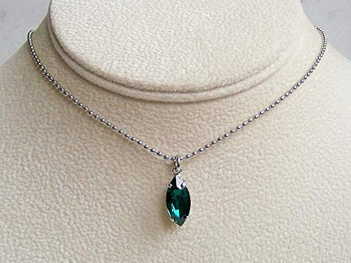 Dark Green Marquise Crystal Drop Pendant 18 Inch Necklace Simulated Emerald May Birthstone Gift Idea SS