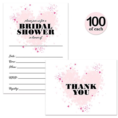 Bridal Shower Invitations & Thank You Cards with Envelopes Matched Set ( 100 of Each ) Beautiful Pink Hearts Write-in Invites & Bride's Wedding Party Gift Folded Thank You Notes Best Value Combo Pair by Digibuddha