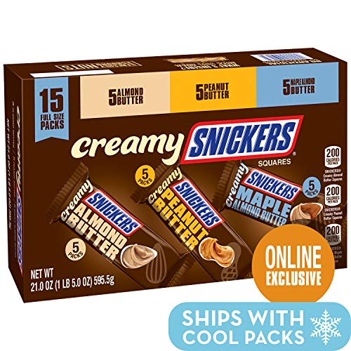 - SNICKERS Creamy Singles Size Square Candy Bars Assortment, 15-Count Variety Box