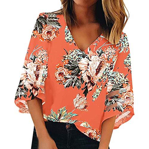 (Women's V Neck Print Mesh Panel Blouse 3/4 Bell Sleeve Loose Top Shirt)