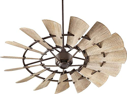 Quorum 96015-86 Indoor Windmill Ceiling Fan in Oiled Bronze with Weathered Oak Blades (Fan Ceiling Quorum Windmill)