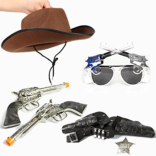 Fun Central BC826 Cowboy set - cowboy hat Pistol Sunglasses Western Guns With Holsters Set