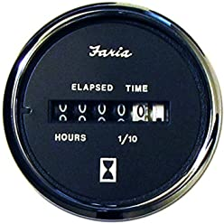 Chesapeake Black Stainless Steel Hour Meter by Faria