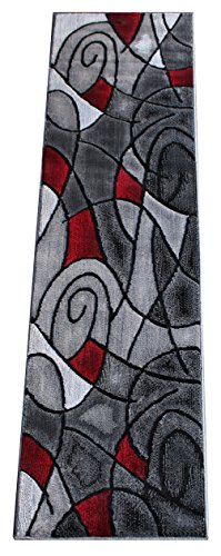 2'x7'7' Runner Area Rug (Masada Rugs, Modern Contemporary Runner Area Rug, Red Grey Black. (2 Feet X 7 Feet))