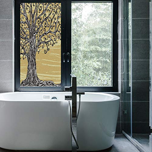 C COABALLA The Visual Effect of Textured Glass and Stained Glass,Tree of Life Decor,is Good for Long Year Under The Sunshine,Swirled Twists Oak Branches Spiritual Nature Eco Sketchy,24''x48''