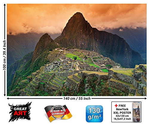 Poster - Machu Picchu Poster South America Peru - Wall Art Decoration Attraction Sights Inca City Ruins UNESCO World Heritage Cultural Landscape Wallposter Mural (55 x 39.4 Inch / 140 x 100 cm)