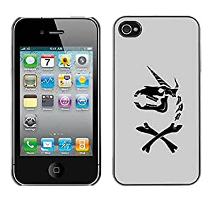 Be Good Phone Accessory // Dura Cáscara cubierta Protectora Caso Carcasa Funda de Protección para Apple Iphone 4 / 4S // Unicorn Grey Horse Funny Black