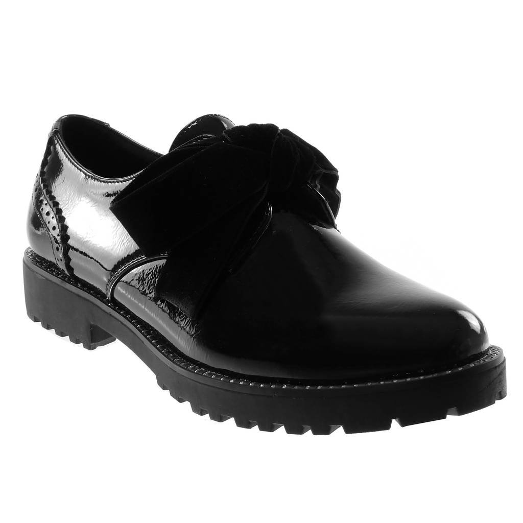 Angkorly - Zapatillas Moda Zapato Derby Mujer Patentes Tachonado Acabado Costura Pespunte Tacón Ancho 3 CM 41 EU|Negro