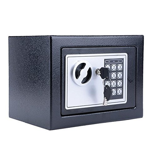 Creine Electronic Digital Safe Box, Safe Security Deposit Box Home Office Security Cabinet Lock Box for Cash, Jewelry, Valuables, Gun Storage with Deadbolt Lock (US STOCK) (Black)