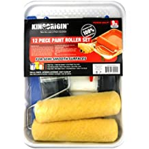 kingorigin 12 pcs paint rollers,paint roller,paint brushes,drop sheet cloth , paint tray