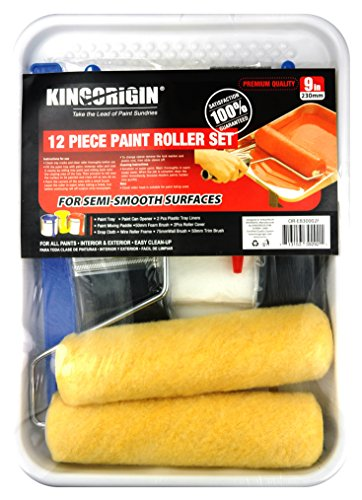Renovator Tray - KINGORIGIN 12 Piece Professional The Whole Room,9 inch Paint Roller kit,Paint Rollers,Paint Roller,Paint Roller Cover,Home Repair Tools,Tools,Paint Rollers,Paint Brushes,Drop Cloth,Paint Roller Tray,