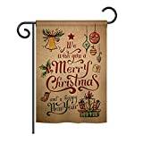 Ornament Collection GS191081-BO Merry Christmas and Happy New Year Winter Christmas Impressions Decorative Vertical 13″ x 18.5″ Double Sided Garden Flag Set with Banner Pole Included Printed in USA